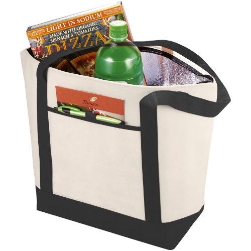 Lighthouse non-woven cooler tote in natural-and-royal-blue