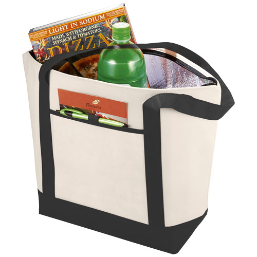 Lighthouse non-woven cooler tote in natural-and-black-solid