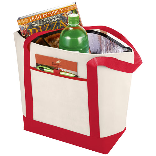 Lighthouse non-woven cooler tote in natural-and-red