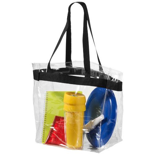Hampton transparent tote bag in transparent-clear-and-black-solid
