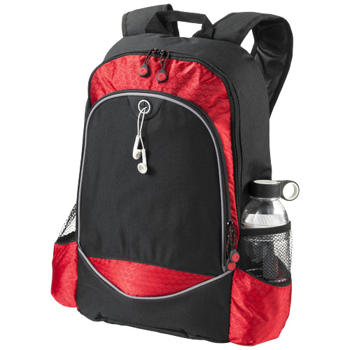 Benton 15'' laptop backpack with headphone port in black-solid-and-red