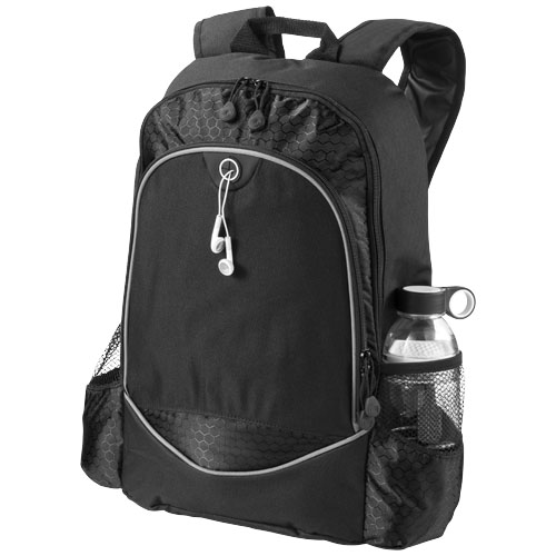Benton 15'' laptop backpack with headphone port in black-solid