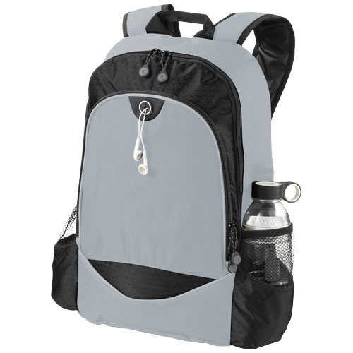 Benton 15'' laptop backpack with headphone port in grey