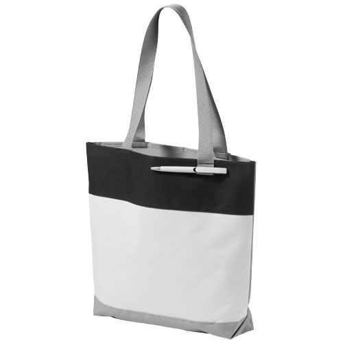 Bloomington colour-block convention tote bag in white-solid-and-black-solid