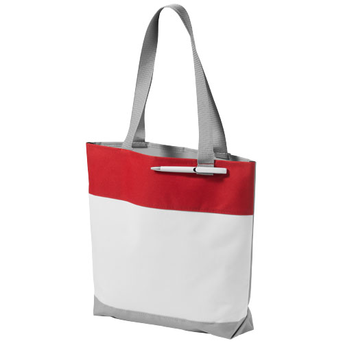 Bloomington colour-block convention tote bag in white-solid-and-red