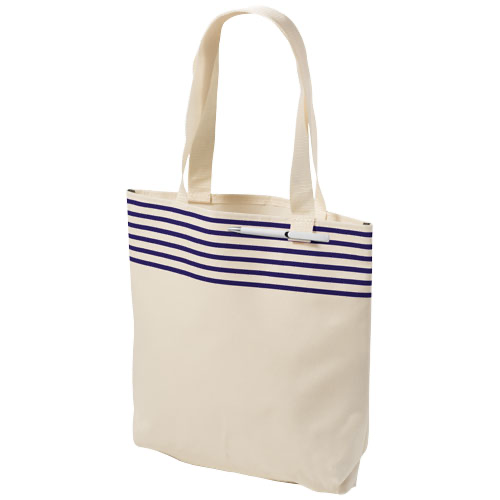 Freeport striped convention tote bag in natural-and-red