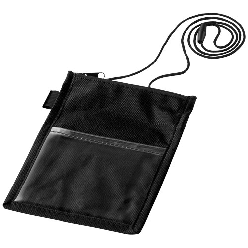 Identify badge holder pouch with pen loop in black-solid