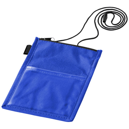 Identify badge holder pouch with pen loop in blue