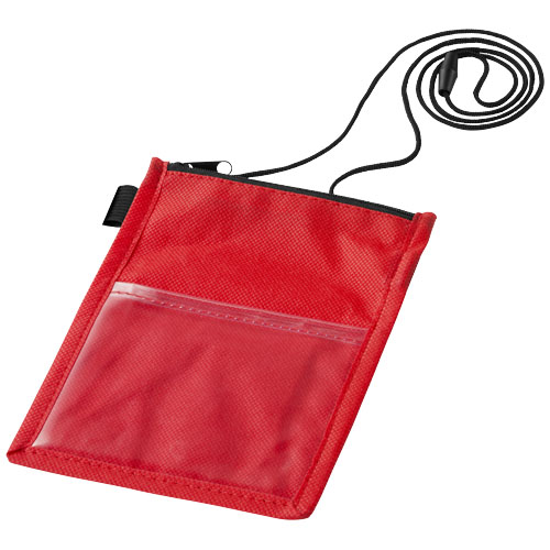 Identify badge holder pouch with pen loop in red