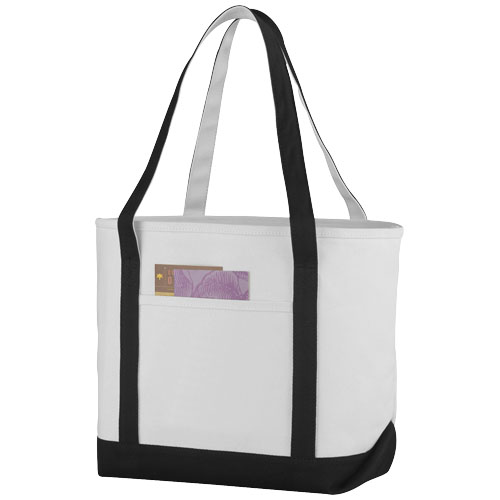 Premium heavy-weight 610 g/m² cotton tote bag in natural-and-black-solid
