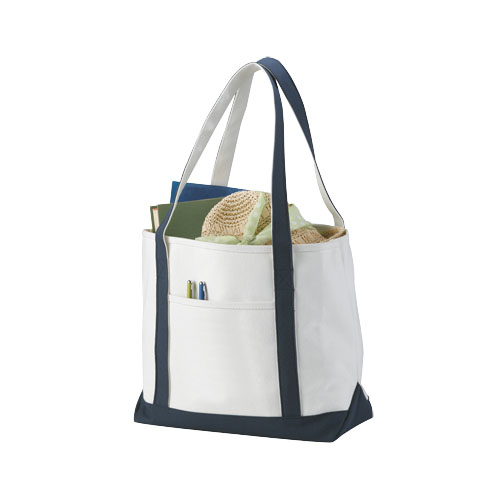 Premium heavy-weight 610 g/m² cotton tote bag in natural-and-navy