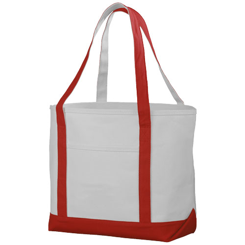 Premium heavy-weight 610 g/m² cotton tote bag in natural-and-red