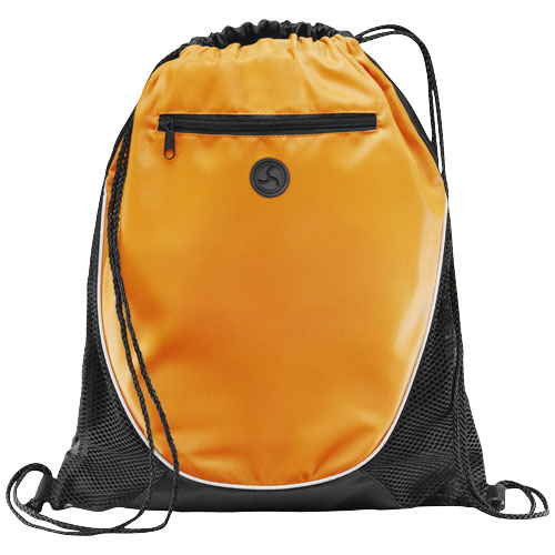 Peek zippered pocket drawstring backpack in orange-and-black-solid