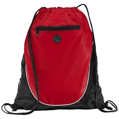 Peek zippered pocket drawstring backpack in red-and-black-solid