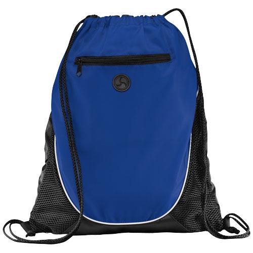 Peek zippered pocket drawstring backpack in royal-blue-and-black-solid