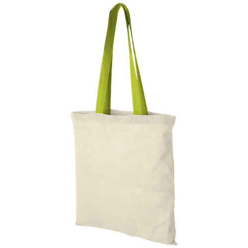 Nevada 100 g/m² cotton tote bag coloured handles in natural-and-apple-green