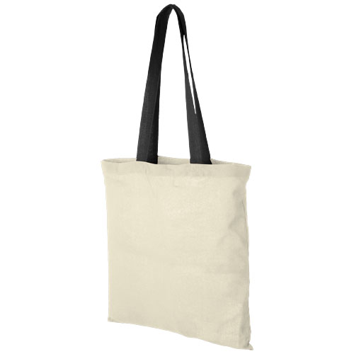 Nevada 100 g/m² cotton tote bag coloured handles in natural-and-black-solid