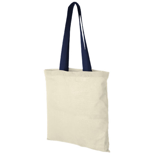 Nevada 100 g/m² cotton tote bag coloured handles in natural-and-navy
