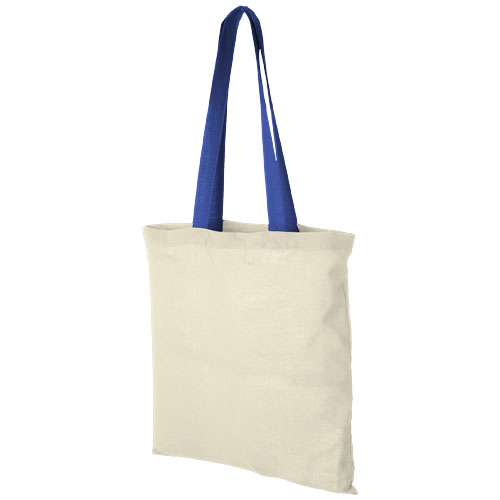 Nevada 100 g/m² cotton tote bag coloured handles in natural-and-royal-blue