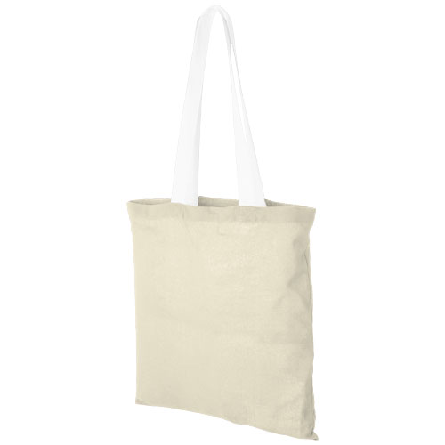 Nevada 100 g/m² cotton tote bag coloured handles in natural-and-white-solid