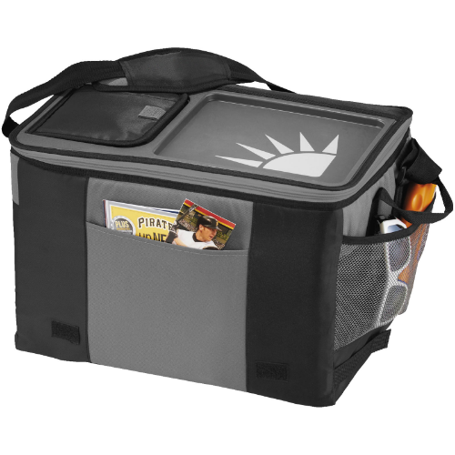 Table-top 50-can cooler bag in black-solid-and-grey