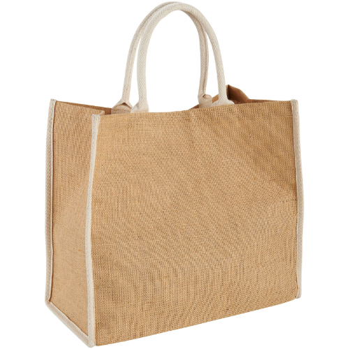 Harry coloured edge jute tote bag in natural-and-white-solid