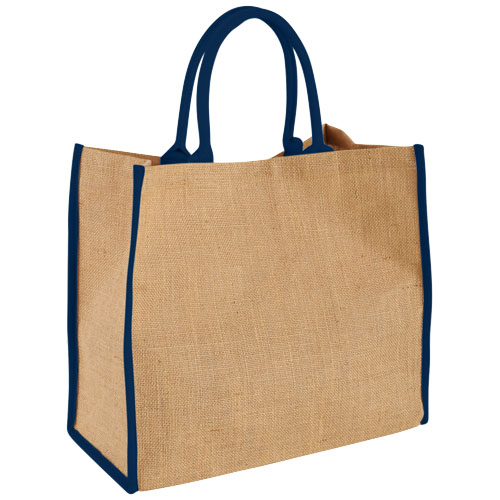 Harry coloured edge jute tote bag in natural-and-navy