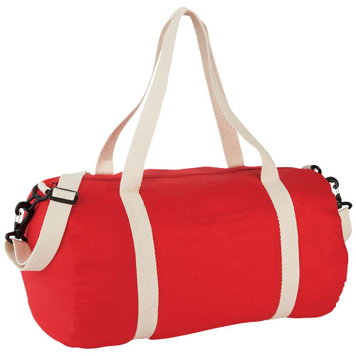 The Cotton Barrel Duffel in red