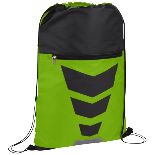 Courtside zippered pocket drawstring backpack in lime-and-black-solid
