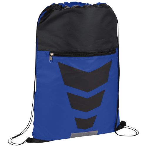 Courtside zippered pocket drawstring backpack in royal-blue-and-black-solid