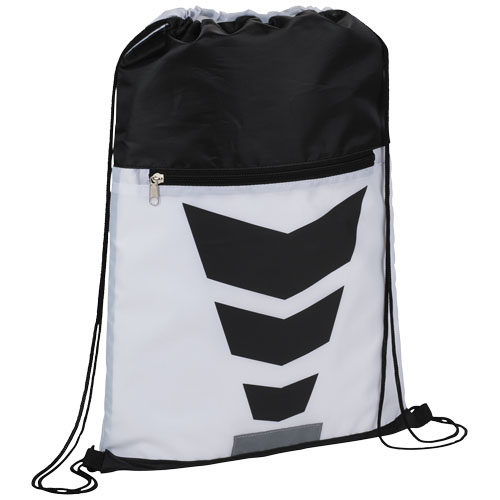 Courtside zippered pocket drawstring backpack in white-solid-and-black-solid