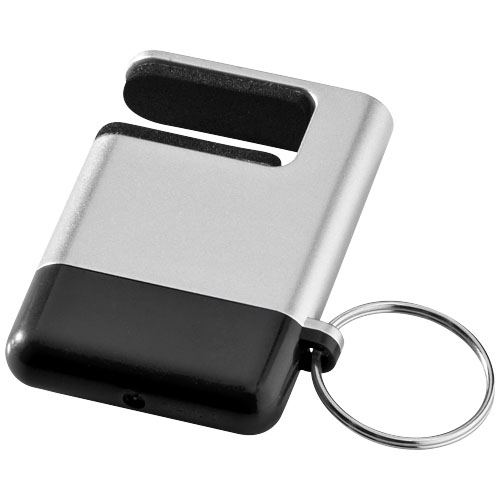 Gogo screen cleaner and smartphone holder in silver-and-black-solid