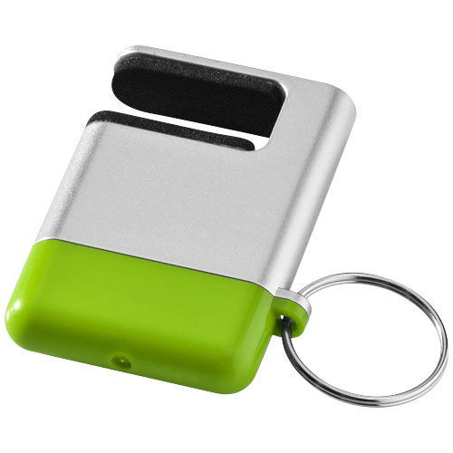 Gogo screen cleaner and smartphone holder in silver-and-lime-green
