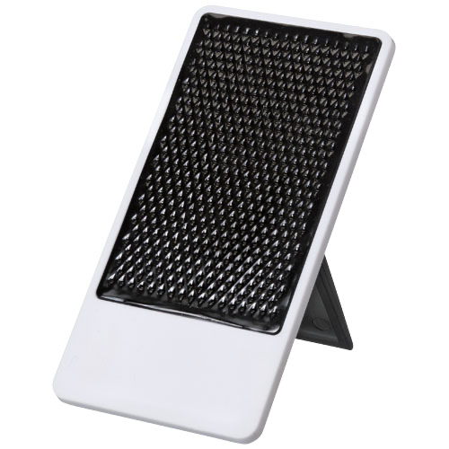 Flip smartphone holder with folding stand in red-and-white-solid