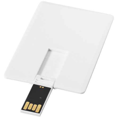 Slim card-shaped 4GB USB flash drive in white-solid