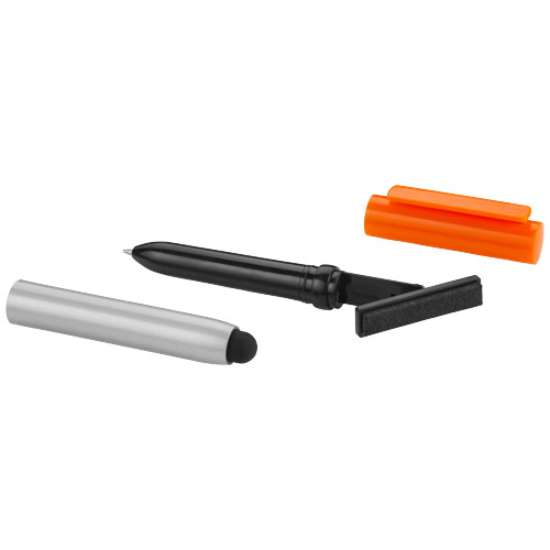 Robo stylus ballpoint pen with screen cleaner in silver-and-orange