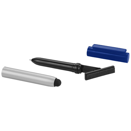 Robo stylus ballpoint pen with screen cleaner in silver-and-royal-blue