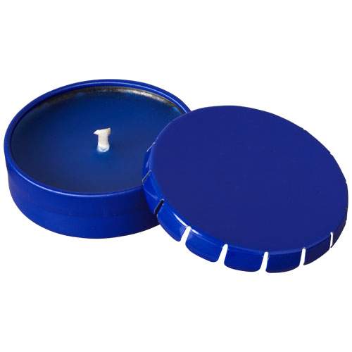 Bova scented candle in tin in blue