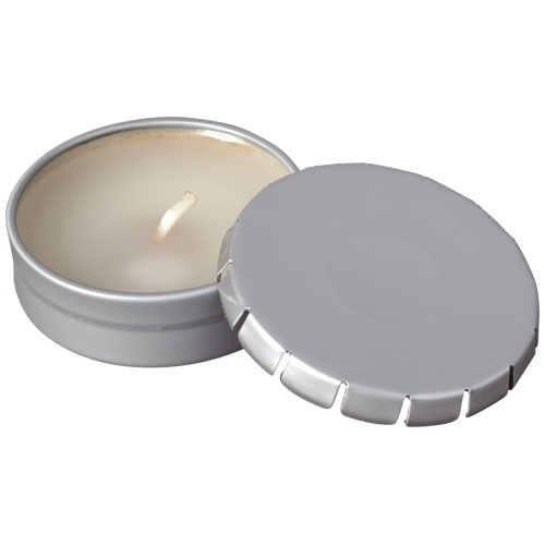 Bova scented candle in tin in silver