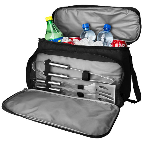 Dox 3-piece bbq set with cooler bag in black-solid