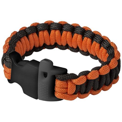 Elliott emergency paracord bracelet in black-solid-and-orange