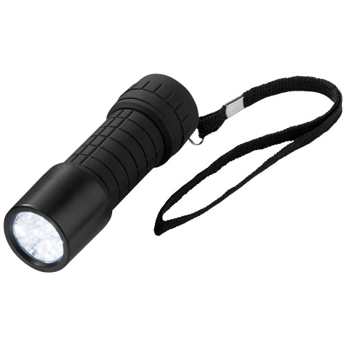 Shine-on 9-LED torch light in black-solid
