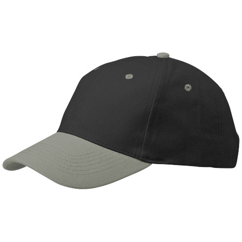 Grip 6 panel cap in black-solid-and-grey