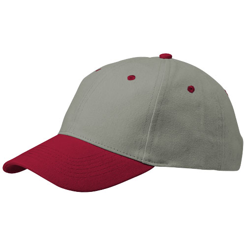 Grip 6 panel cap in grey-and-red