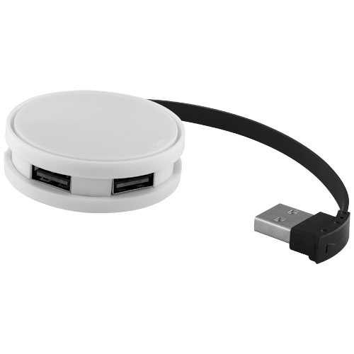 Round 4-port USB hub in white-solid-and-black-solid