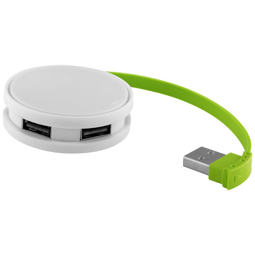 Round 4-port USB hub in white-solid-and-lime-green