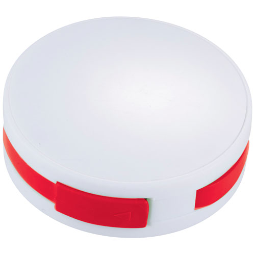 Round 4-port USB hub in white-solid-and-red