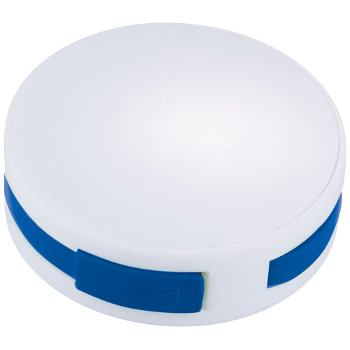 Round 4-port USB hub in white-solid-and-royal-blue
