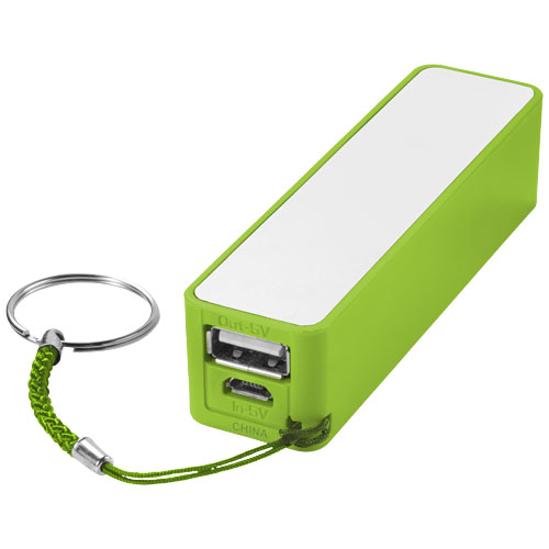 Jive 2000 mAh power bank in lime-and-white-solid