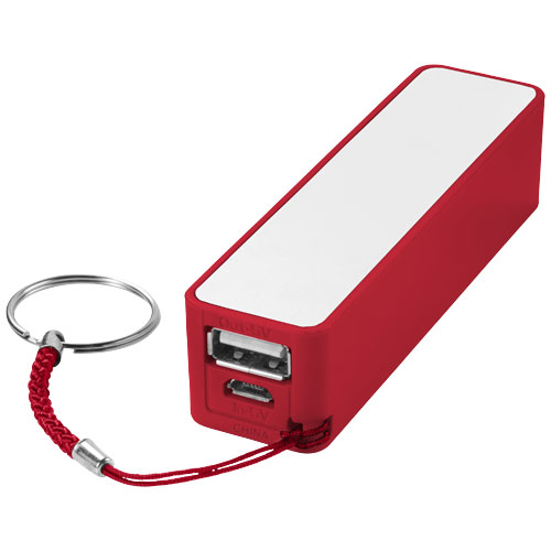 Jive 2000 mAh power bank in red-and-white-solid